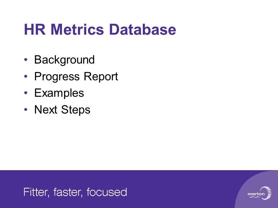 HR Metrics Database Background Progress Report Examples Next Steps