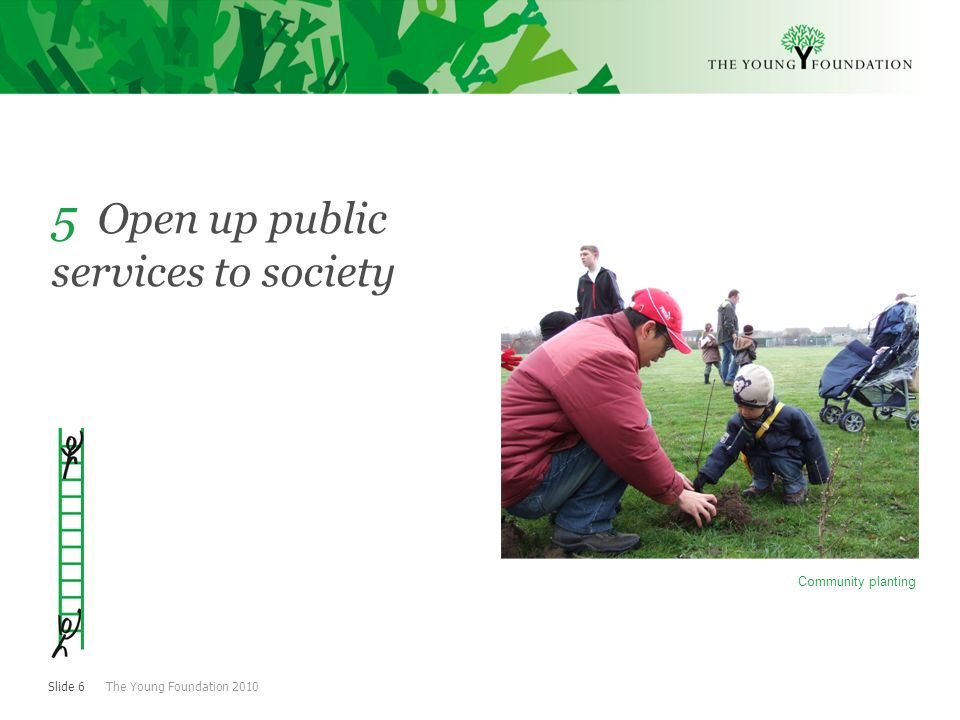 Slide 6 The Young Foundation Open up public services to society Community planting