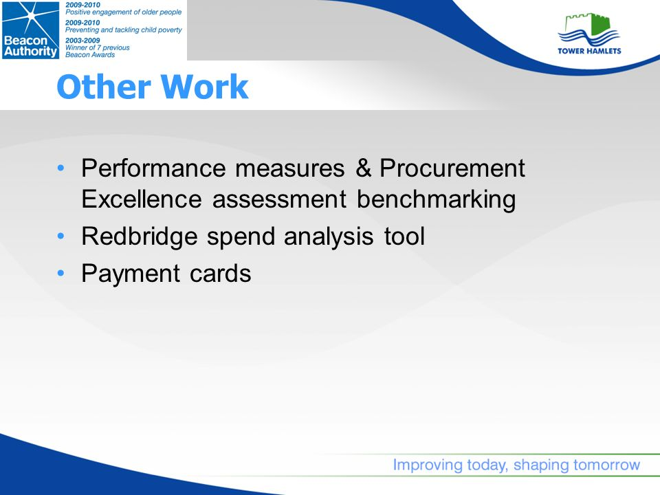 Other Work Performance measures & Procurement Excellence assessment benchmarking Redbridge spend analysis tool Payment cards