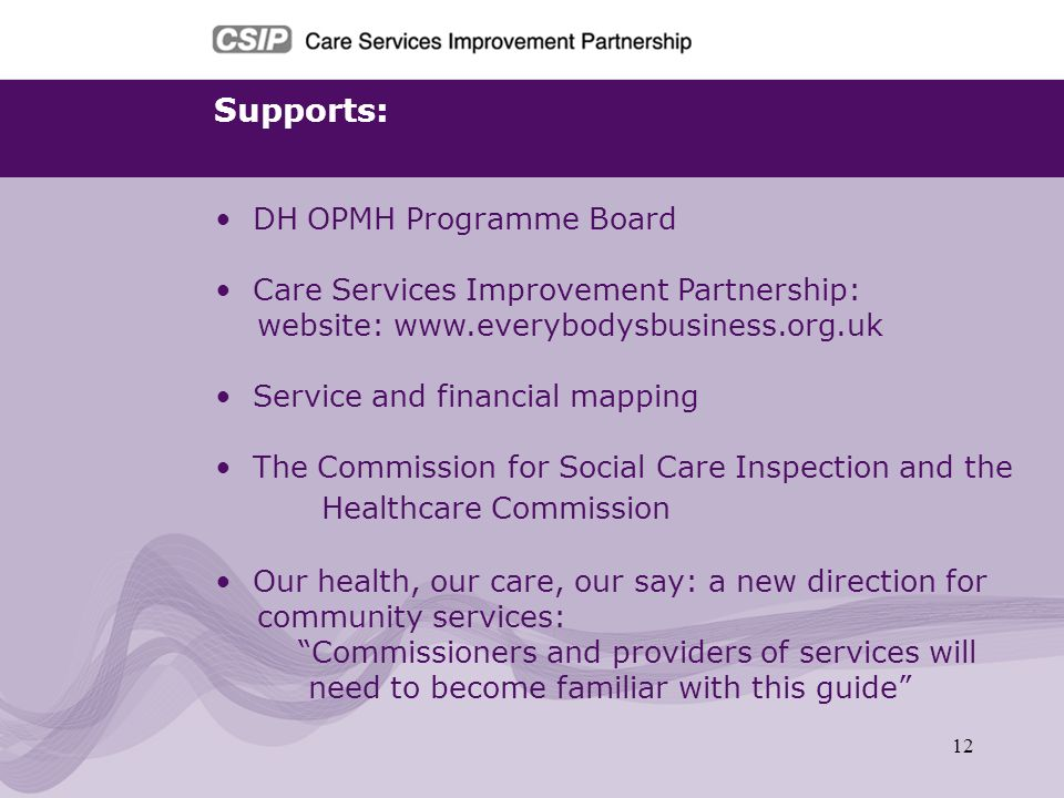 12 Supports: DH OPMH Programme Board Care Services Improvement Partnership: website: www.everybodysbusiness.org.uk Service and financial mapping The C