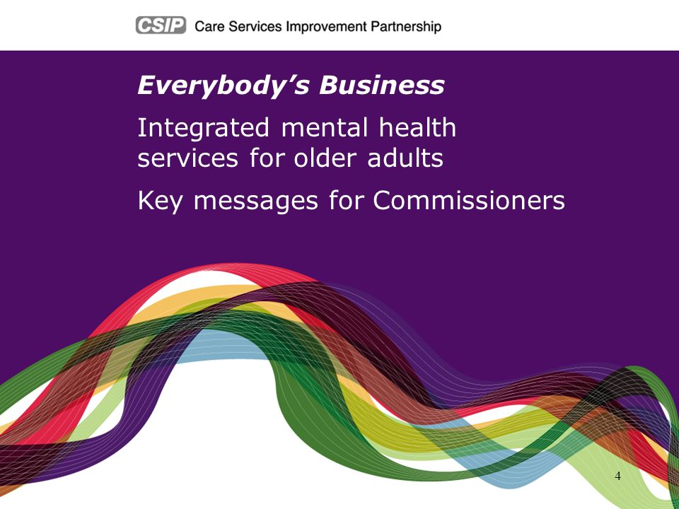 5 1)Older peoples mental health is everyones business Mental health problems are widespread: 40% of people visiting their GP 50% of general hospital inpatients 60% of people who live in care homes Depression is more common and worsens outcome in people with long term conditions Population increase in the next 10 years: 15% increase in the over 65s 27% increase in the over 85s Caring for people with Alzheimers disease costs more than the combined cost of stroke, cancer and heart disease