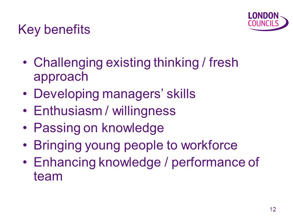 12 Key benefits Challenging existing thinking / fresh approach Developing managers skills Enthusiasm / willingness Passing on knowledge Bringing young