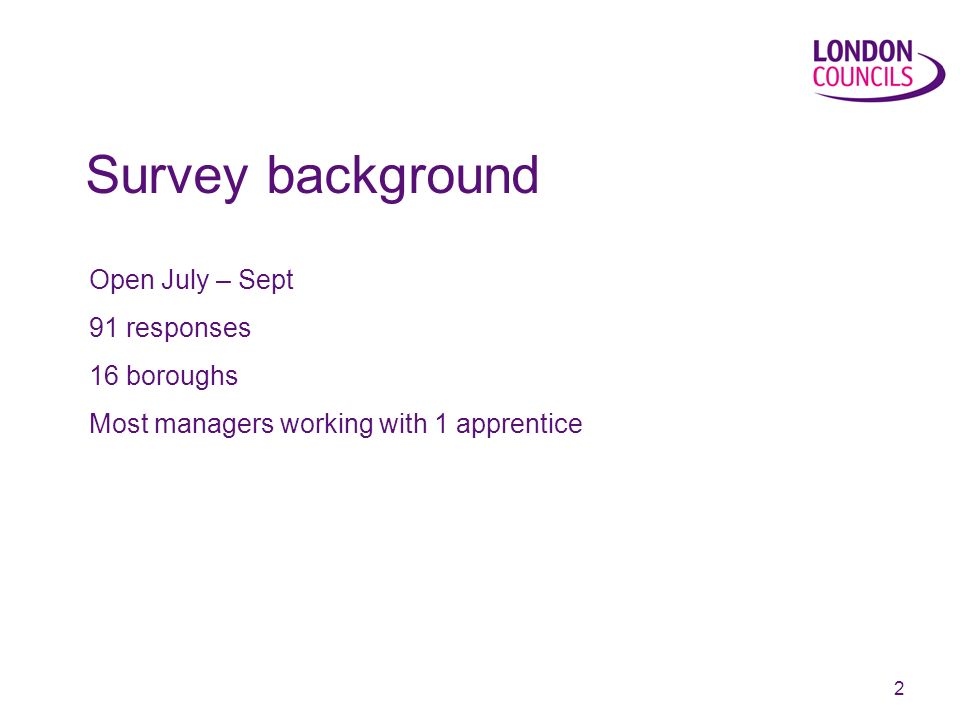 2 Open July – Sept 91 responses 16 boroughs Most managers working with 1 apprentice Survey background