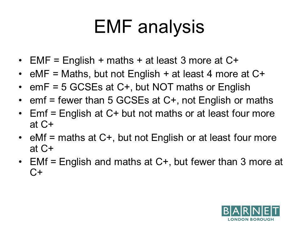EMF analysis EMF = English + maths + at least 3 more at C+ eMF = Maths, but not English + at least 4 more at C+ emF = 5 GCSEs at C+, but NOT maths or