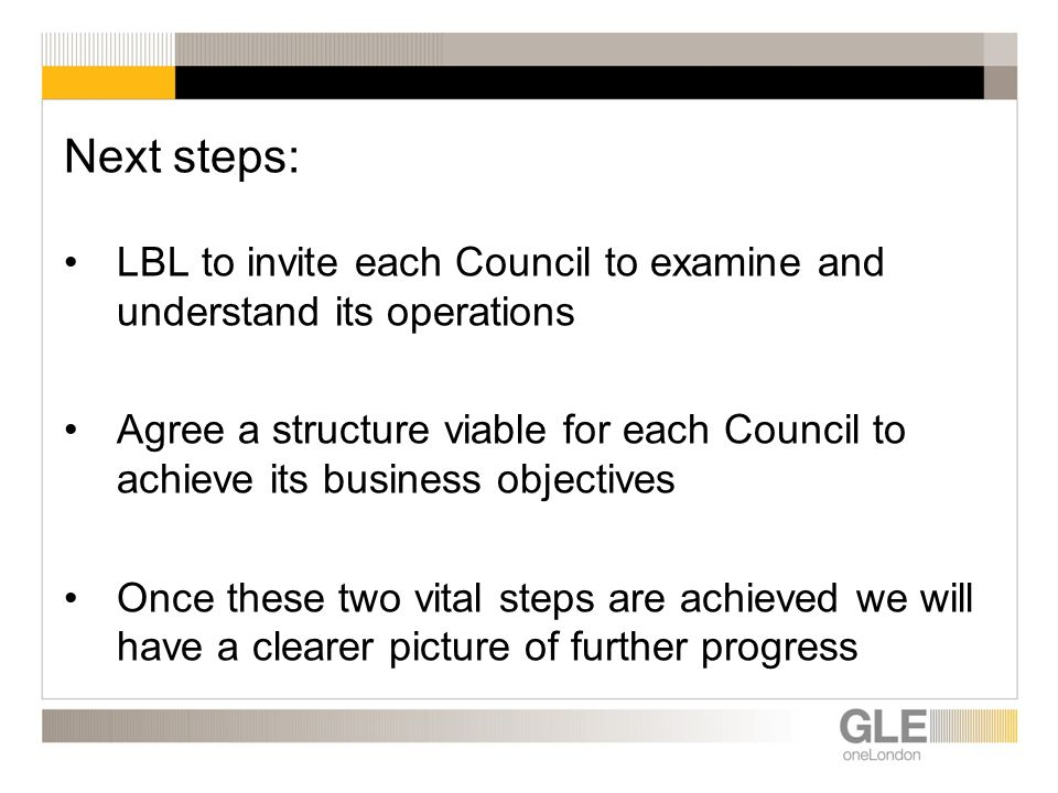 Next steps: LBL to invite each Council to examine and understand its operations Agree a structure viable for each Council to achieve its business objectives Once these two vital steps are achieved we will have a clearer picture of further progress