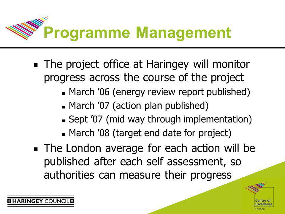 Programme Management The project office at Haringey will monitor progress across the course of the project March 06 (energy review report published) March 07 (action plan published) Sept 07 (mid way through implementation) March 08 (target end date for project) The London average for each action will be published after each self assessment, so authorities can measure their progress