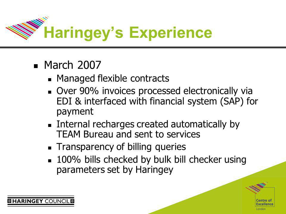 Haringeys Experience March 2007 Managed flexible contracts Over 90% invoices processed electronically via EDI & interfaced with financial system (SAP) for payment Internal recharges created automatically by TEAM Bureau and sent to services Transparency of billing queries 100% bills checked by bulk bill checker using parameters set by Haringey