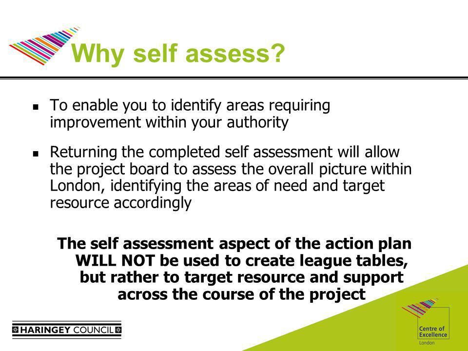Why self assess? To enable you to identify areas requiring improvement within your authority Returning the completed self assessment will allow the pr