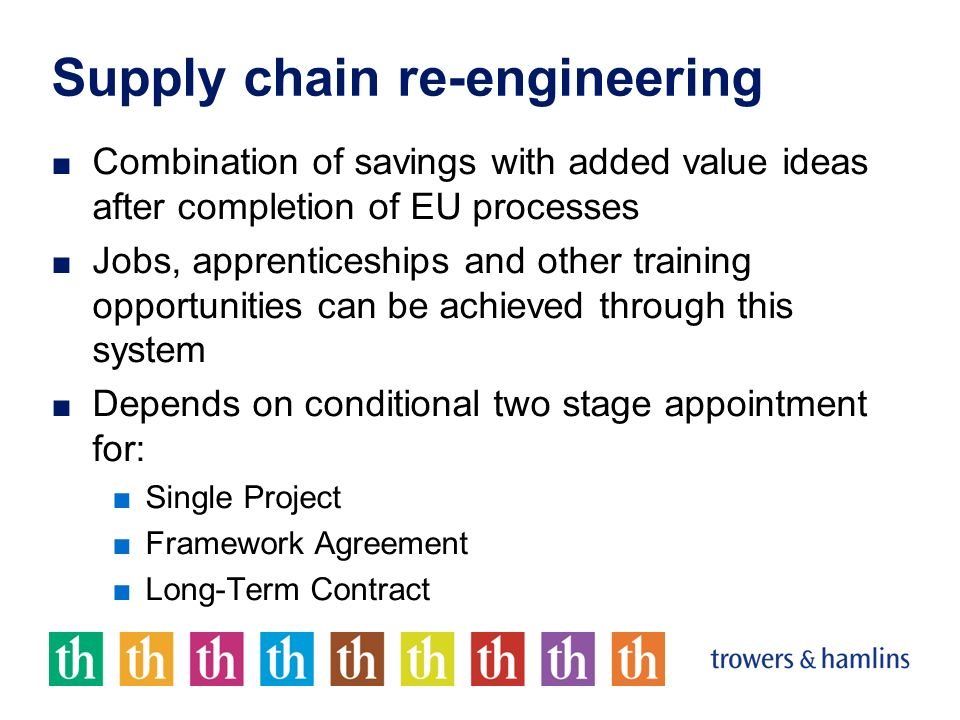 Supply chain re-engineering Combination of savings with added value ideas after completion of EU processes Jobs, apprenticeships and other training op