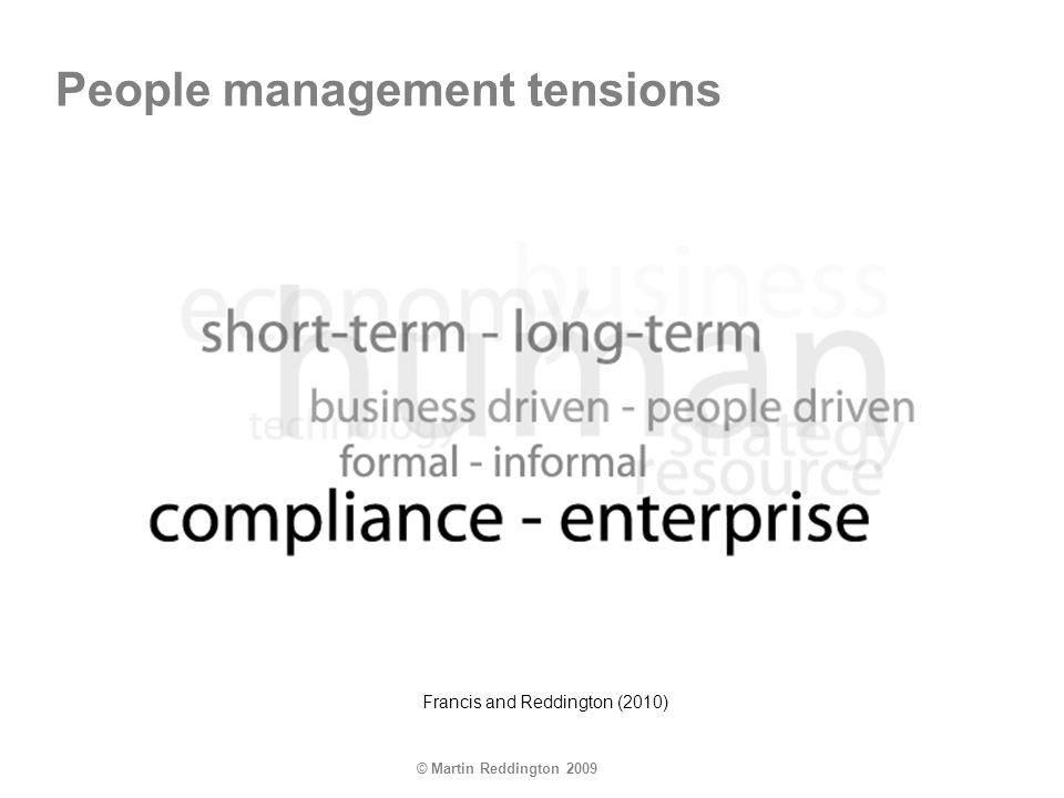 © Martin Reddington 2009 Francis and Reddington (2010) People management tensions