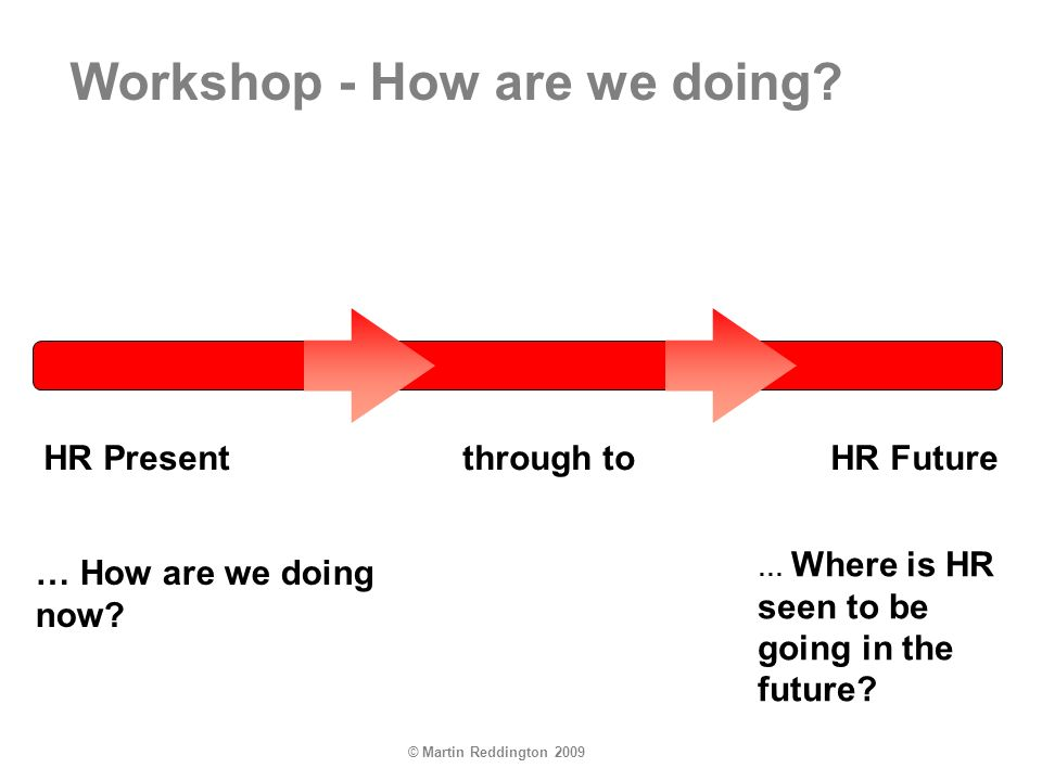 © Martin Reddington 2009 HR Present through toHR Future … How are we doing now? … Where is HR seen to be going in the future? Workshop - How are we do