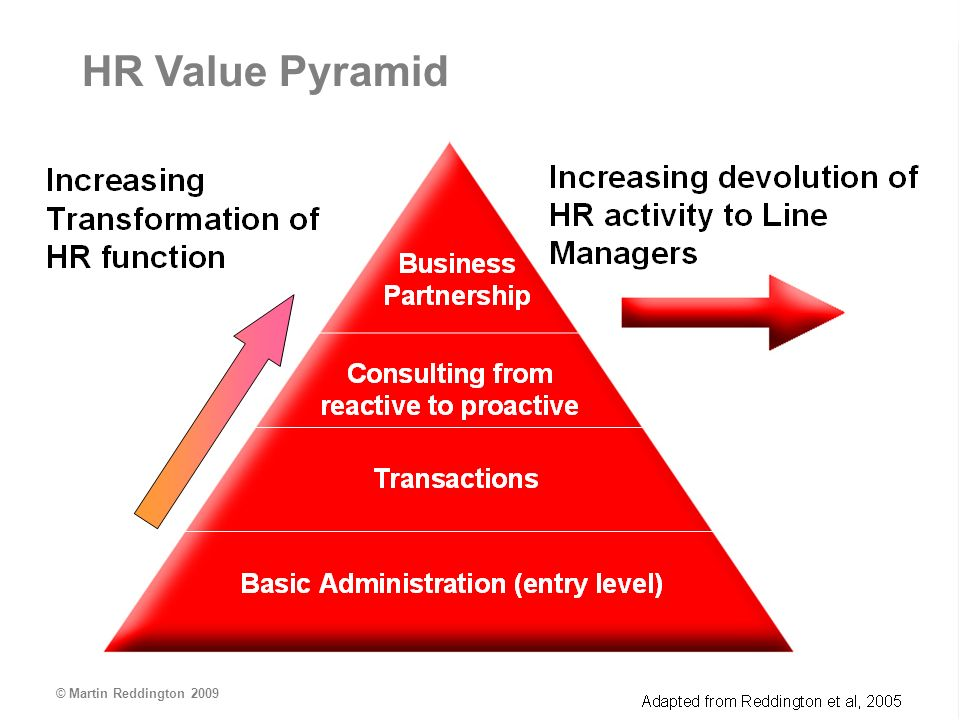 © Martin Reddington 2009 1 2 3 Basic Administration (entry level) Business Partnership Consulting from reactive to proactive Transactions HR Value Pyramid © Martin Reddington 2009