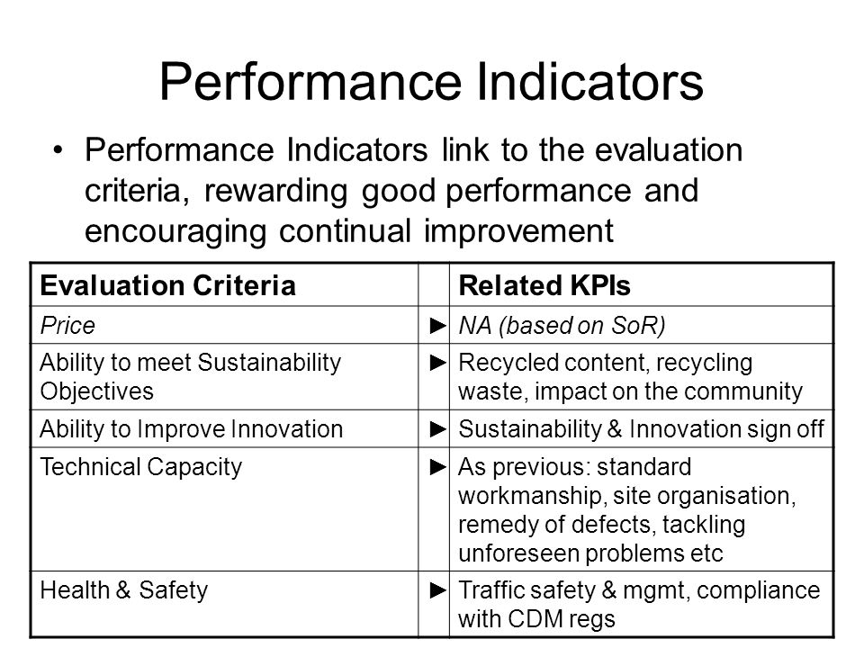 Performance Indicators Performance Indicators link to the evaluation criteria, rewarding good performance and encouraging continual improvement Evaluation CriteriaRelated KPIs PriceNA (based on SoR) Ability to meet Sustainability Objectives Recycled content, recycling waste, impact on the community Ability to Improve InnovationSustainability & Innovation sign off Technical CapacityAs previous: standard workmanship, site organisation, remedy of defects, tackling unforeseen problems etc Health & SafetyTraffic safety & mgmt, compliance with CDM regs