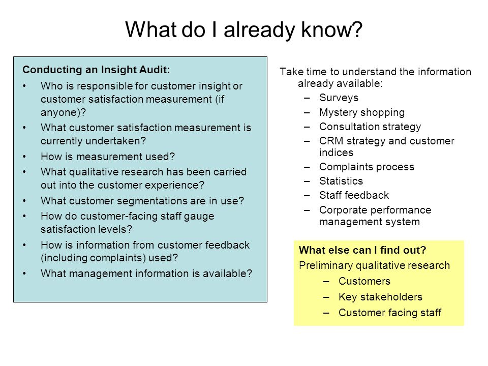 What do I already know? Conducting an Insight Audit: Who is responsible for customer insight or customer satisfaction measurement (if anyone)? What cu