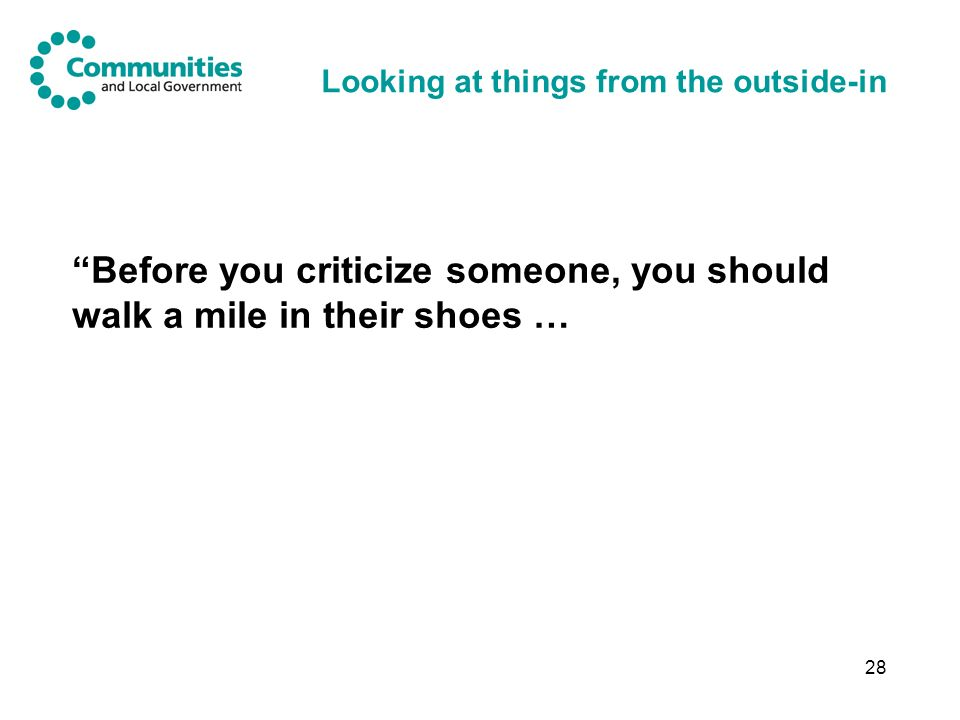28 Looking at things from the outside-in Before you criticize someone, you should walk a mile in their shoes …