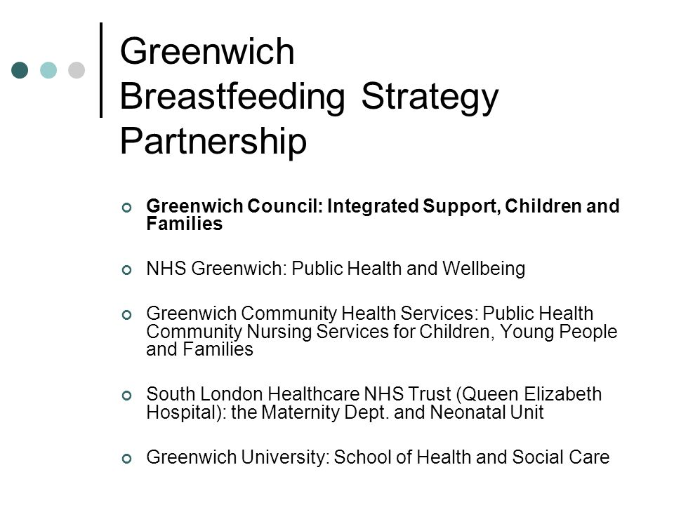 Greenwich Breastfeeding Strategy Partnership Greenwich Council: Integrated Support, Children and Families NHS Greenwich: Public Health and Wellbeing G