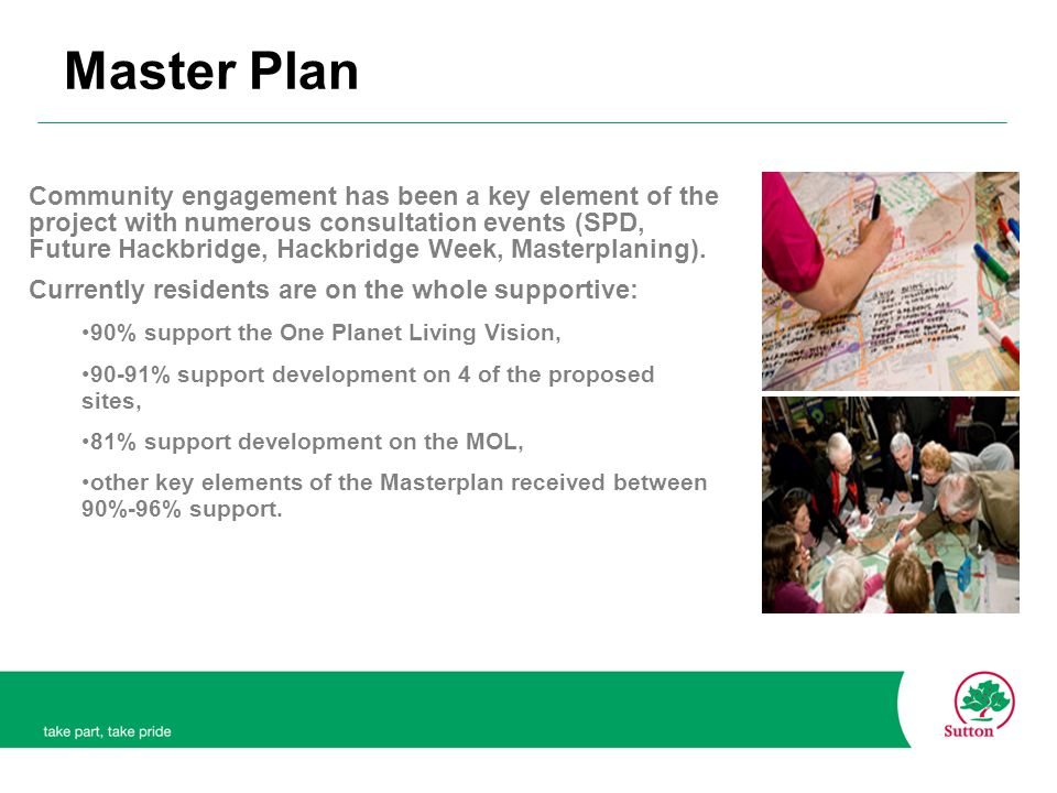 Community engagement has been a key element of the project with numerous consultation events (SPD, Future Hackbridge, Hackbridge Week, Masterplaning).