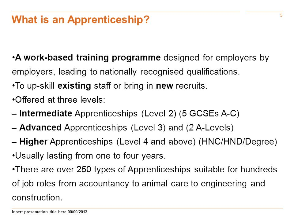 5 Insert presentation title here 00/00/2012 What is an Apprenticeship.