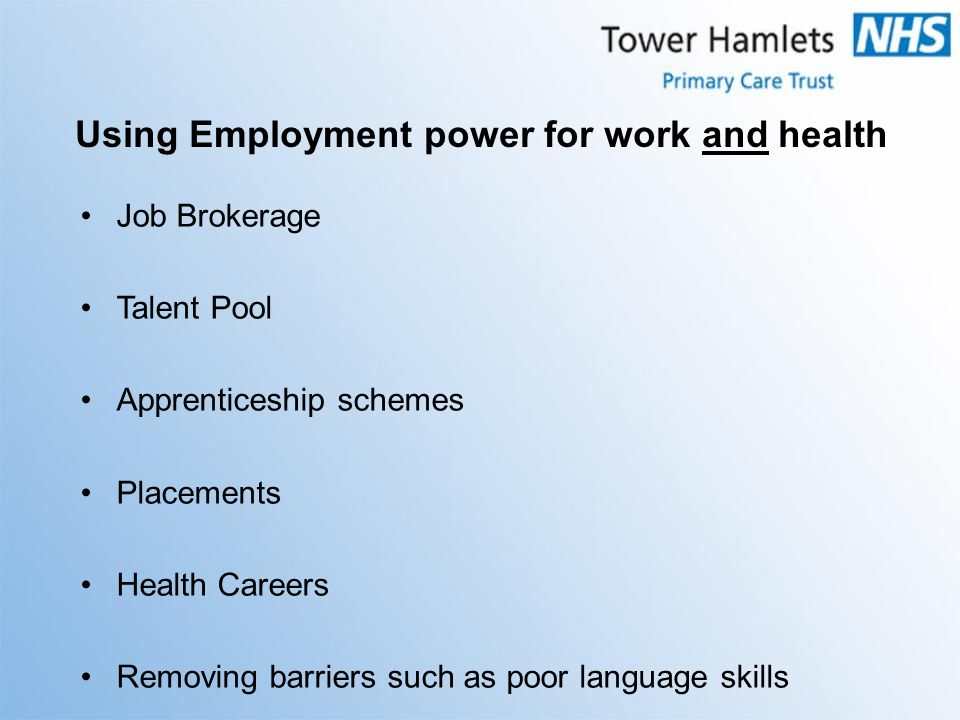 Job Brokerage Talent Pool Apprenticeship schemes Placements Health Careers Removing barriers such as poor language skills Using Employment power for work and health