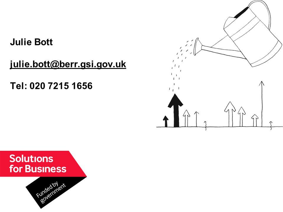 Julie Bott julie.bott@berr.gsi.gov.uk Tel: 020 7215 1656 julie.bott@berr.gsi.gov.uk