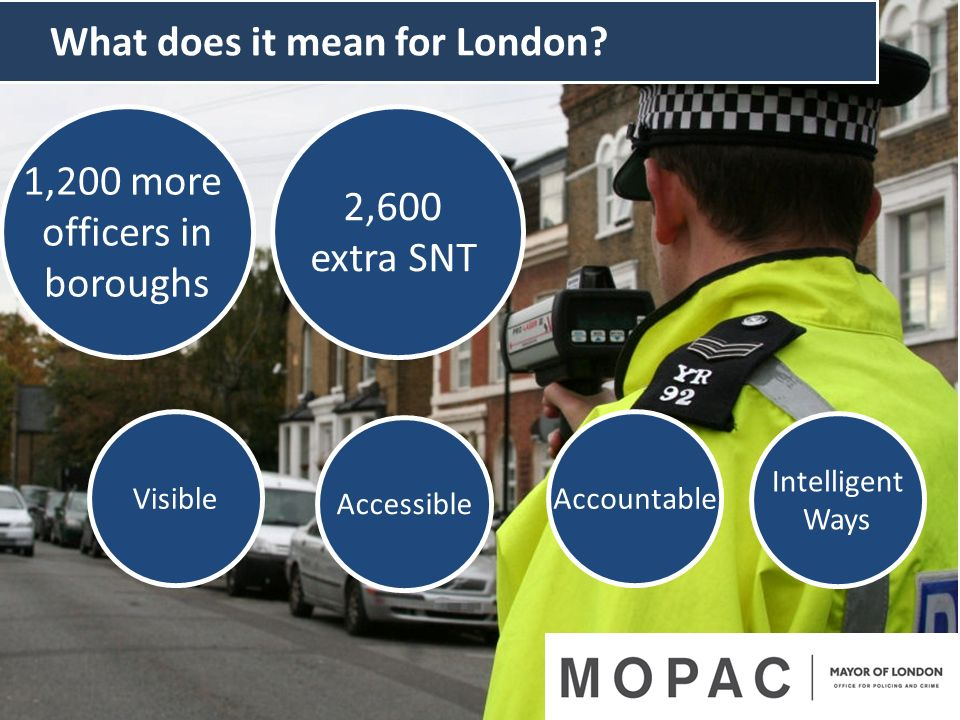 2,600 extra SNT What does it mean for London? AccountableVisible Accessible Intelligent Ways 1,200 more officers in boroughs