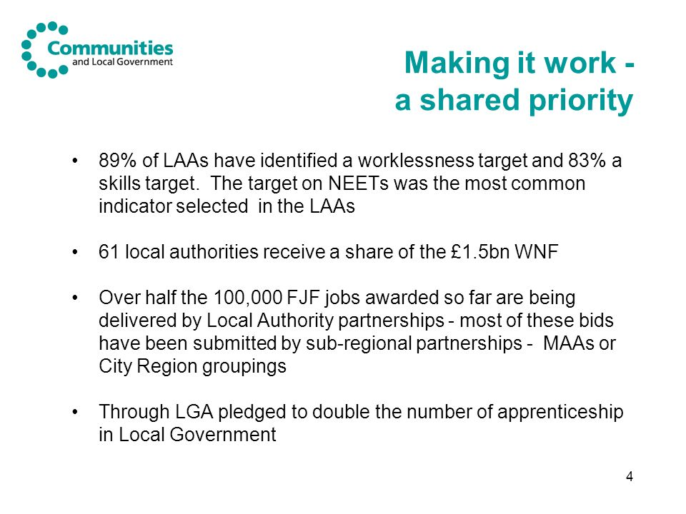 4 Making it work - a shared priority 89% of LAAs have identified a worklessness target and 83% a skills target.