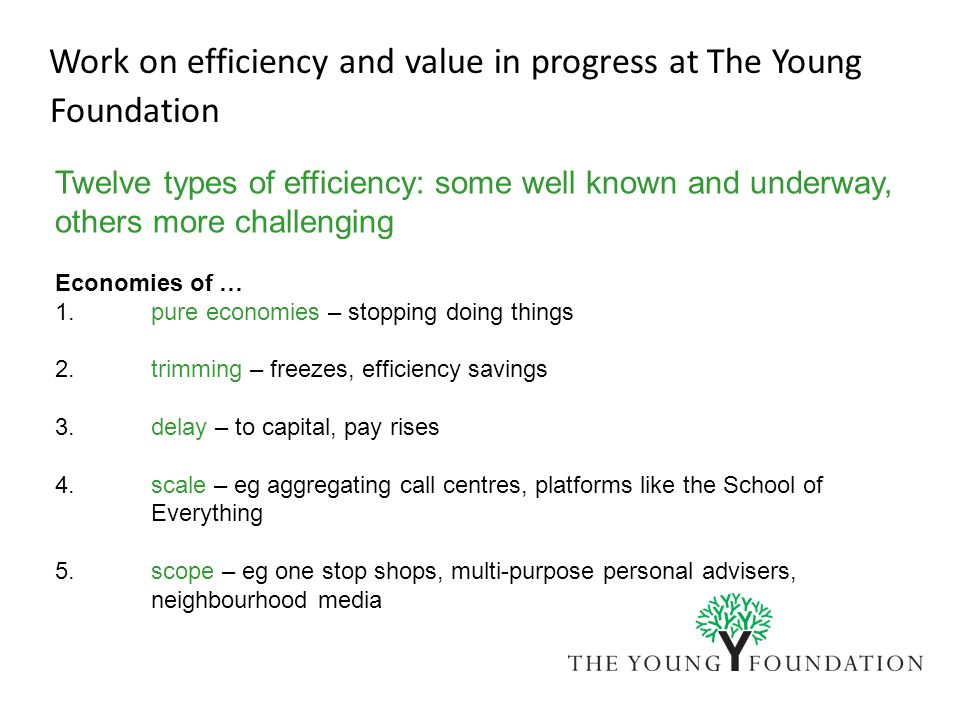 Work on efficiency and value in progress at The Young Foundation Twelve types of efficiency: some well known and underway, others more challenging Eco
