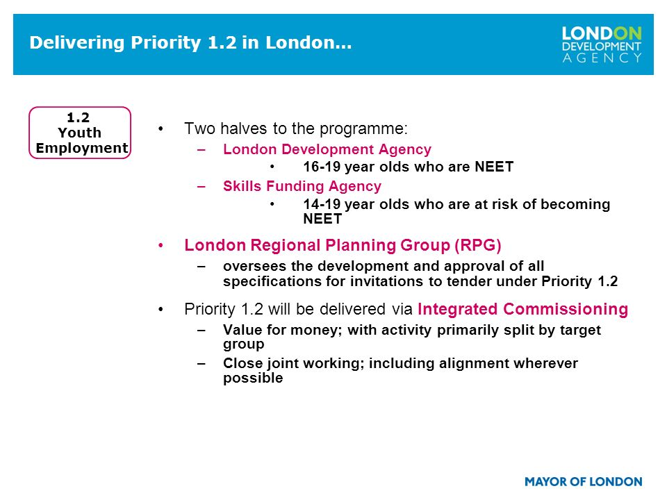 Delivering Priority 1.2 in London… Two halves to the programme: –London Development Agency 16-19 year olds who are NEET –Skills Funding Agency 14-19 year olds who are at risk of becoming NEET London Regional Planning Group (RPG) –oversees the development and approval of all specifications for invitations to tender under Priority 1.2 Priority 1.2 will be delivered via Integrated Commissioning –Value for money; with activity primarily split by target group –Close joint working; including alignment wherever possible 1.2 Youth Employment
