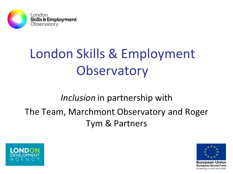 London Skills & Employment Observatory Inclusion in partnership with The Team, Marchmont Observatory and Roger Tym & Partners