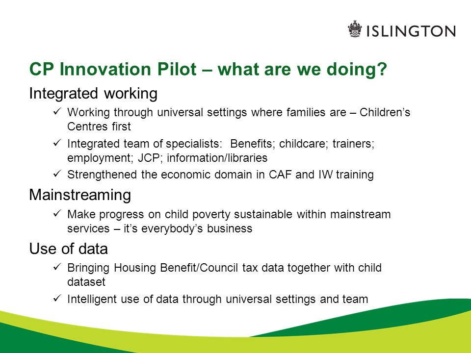 CP Innovation Pilot – what are we doing.