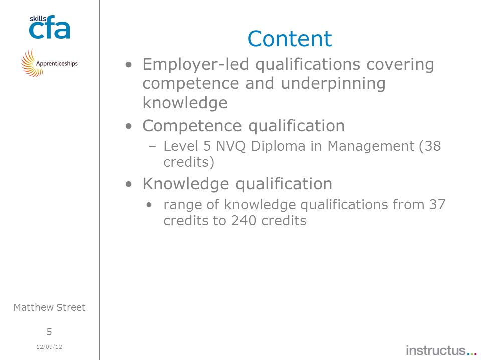 5 12/09/12 Matthew Street Content Employer-led qualifications covering competence and underpinning knowledge Competence qualification –Level 5 NVQ Dip