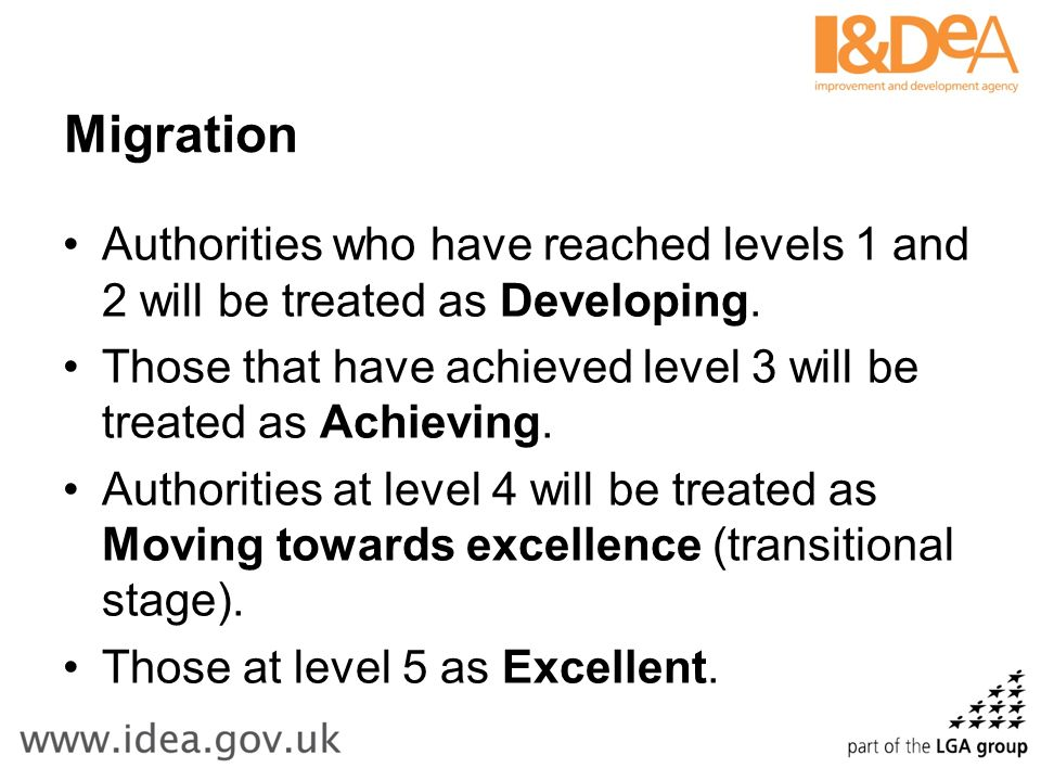 Migration Authorities who have reached levels 1 and 2 will be treated as Developing.