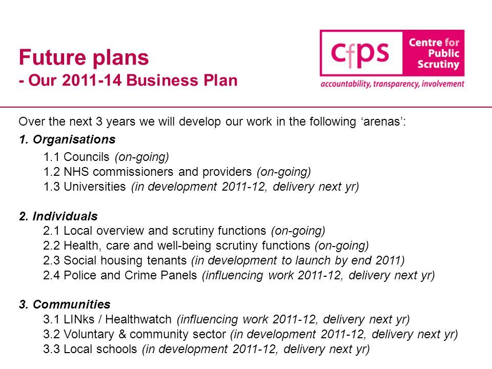 Future plans - Our 2011-14 Business Plan Over the next 3 years we will develop our work in the following arenas: 1.