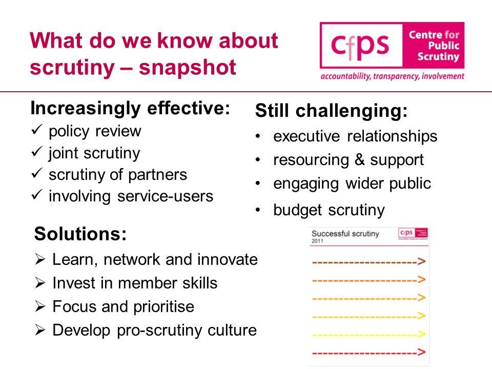 What do we know about scrutiny – snapshot Increasingly effective: policy review joint scrutiny scrutiny of partners involving service-users Still challenging: executive relationships resourcing & support engaging wider public budget scrutiny Solutions: Learn, network and innovate Invest in member skills Focus and prioritise Develop pro-scrutiny culture
