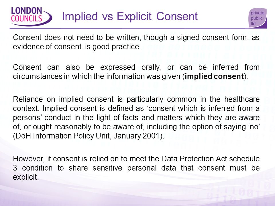 Implied vs Explicit Consent Consent does not need to be written, though a signed consent form, as evidence of consent, is good practice. Consent can a