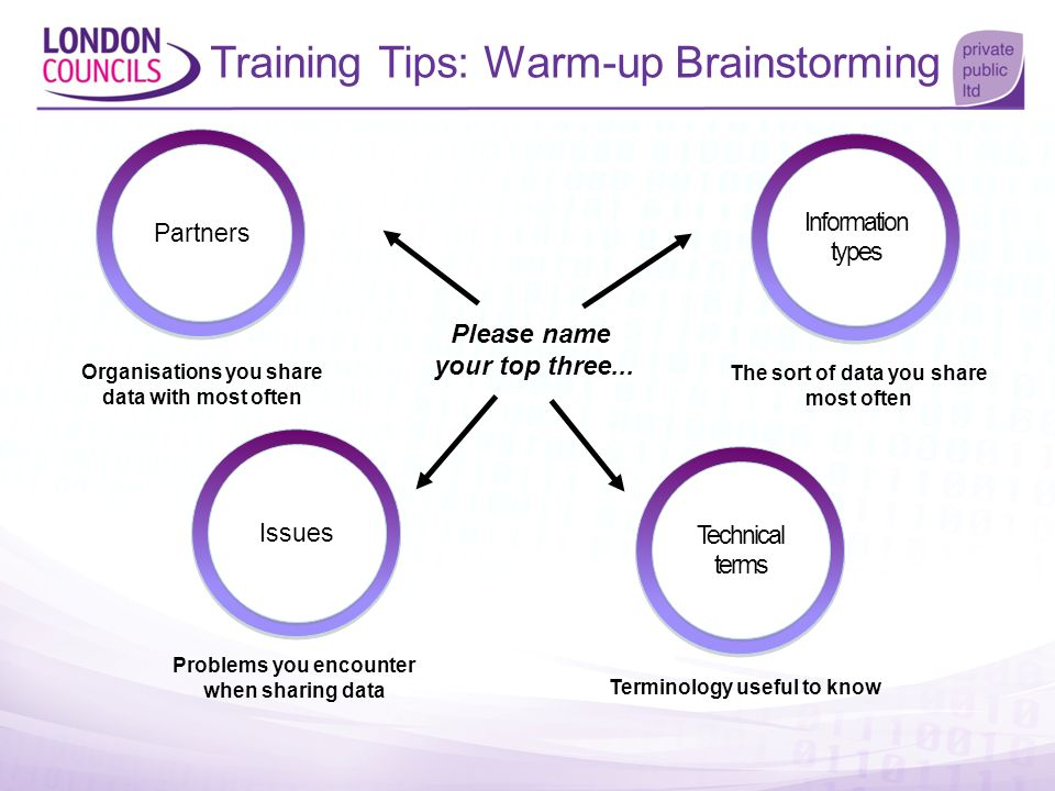 Training Tips: Warm-up Brainstorming Please name your top three... Organisations you share data with most often The sort of data you share most often