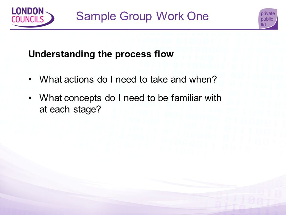 Sample Group Work One Understanding the process flow What actions do I need to take and when? What concepts do I need to be familiar with at each stag