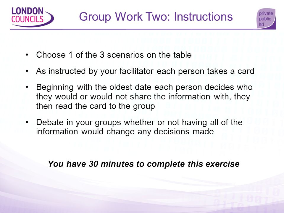 Group Work Two: Instructions Choose 1 of the 3 scenarios on the table As instructed by your facilitator each person takes a card Beginning with the ol