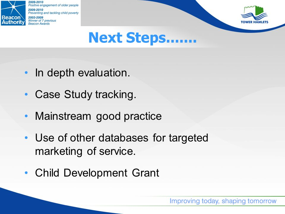 Next Steps....... In depth evaluation. Case Study tracking.