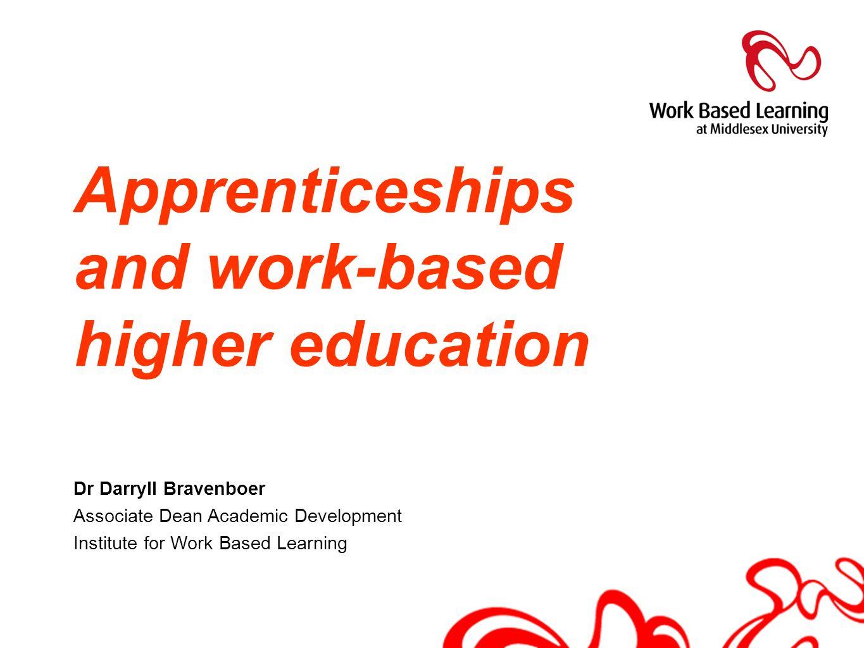 Apprenticeships and work-based higher education Dr Darryll Bravenboer Associate Dean Academic Development Institute for Work Based Learning