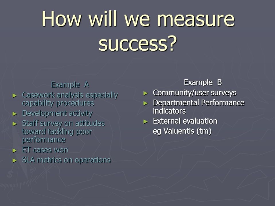 How will we measure success? Example A Casework analysis especially capability procedures Casework analysis especially capability procedures Developme