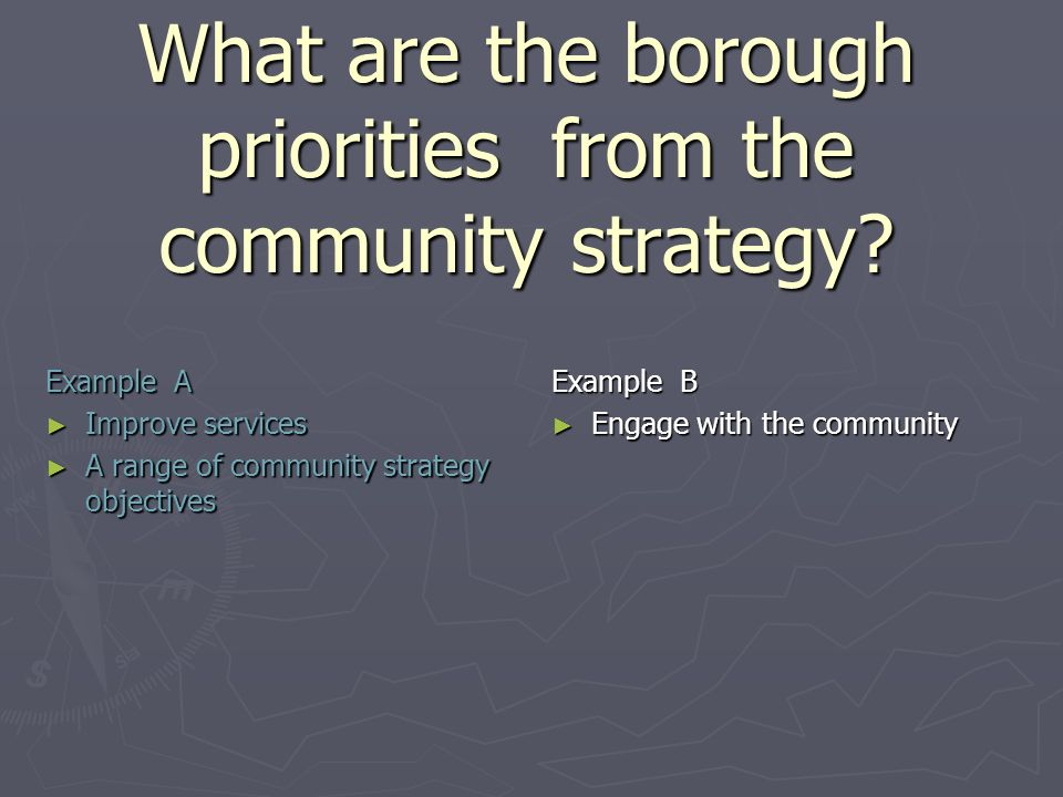 What are the borough priorities from the community strategy.