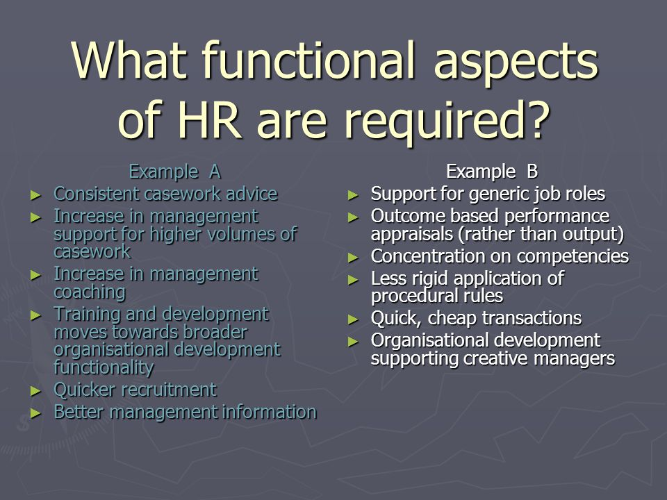 What functional aspects of HR are required.