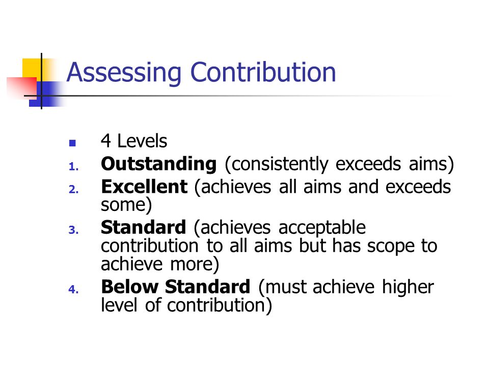 Assessing Contribution 4 Levels 1. Outstanding (consistently exceeds aims) 2. Excellent (achieves all aims and exceeds some) 3. Standard (achieves acc