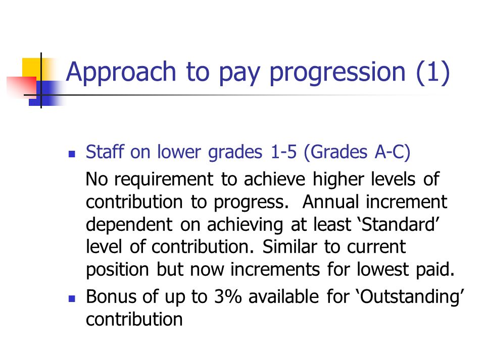 Approach to pay progression (2) Middle managers and professional staff D-J (6-14) Conventional incremental progression through first 4 increments of grade (subject to Standard contribution) Access to next 2 increments dependent upon better than Standard contribution Non-consolidated bonus to reward highest levels of contribution for staff at top of grades