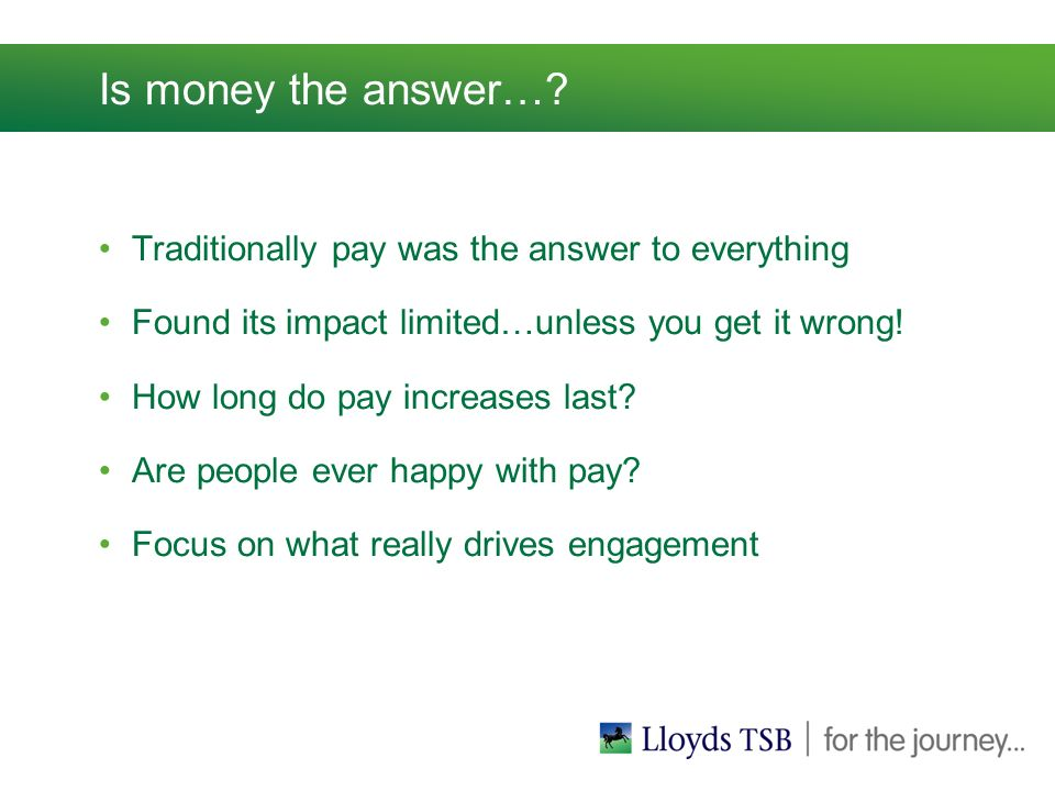 Is money the answer….