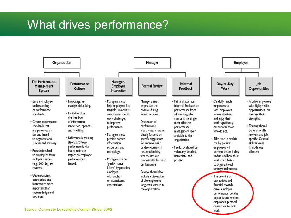 What drives performance? Source: Corporate Leadership Council Study, 2002