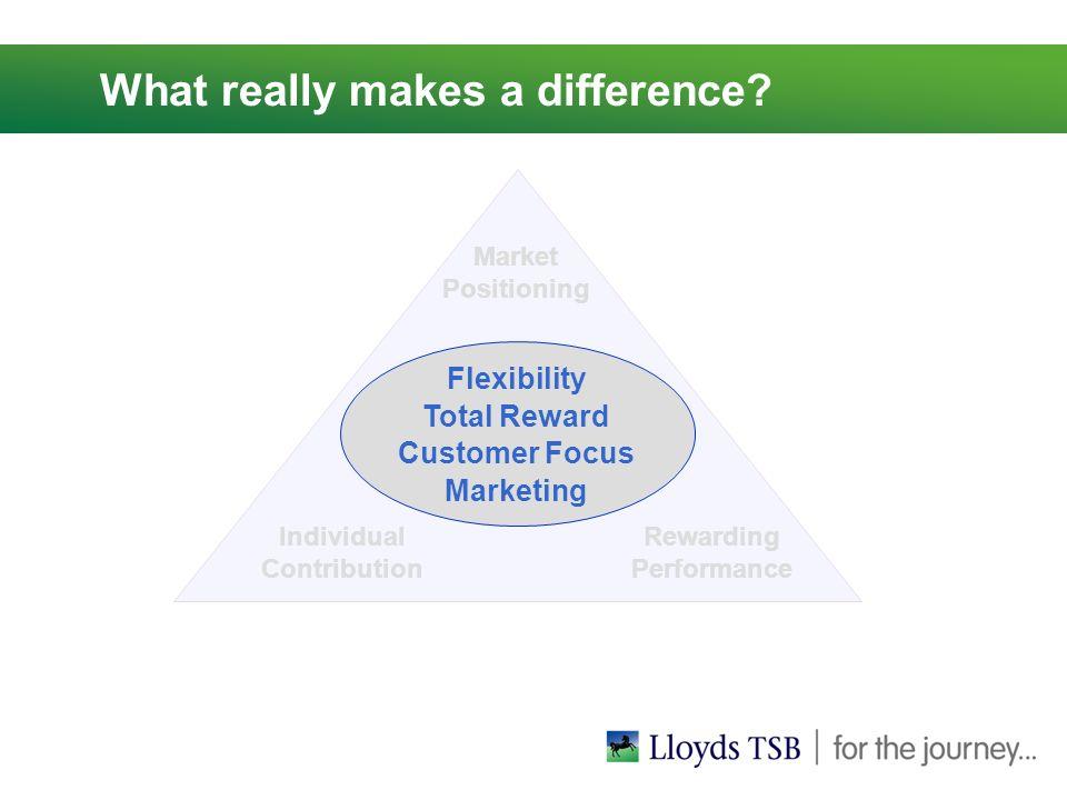 Market Positioning Individual Contribution Rewarding Performance Flexibility Total Reward Customer Focus Marketing