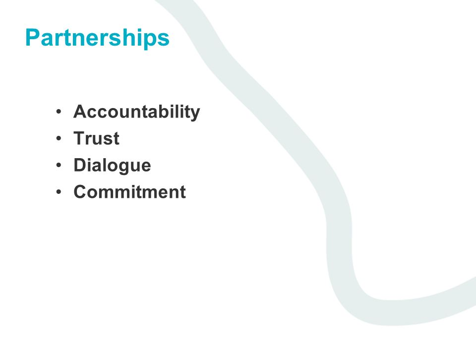 Partnerships Accountability Trust Dialogue Commitment