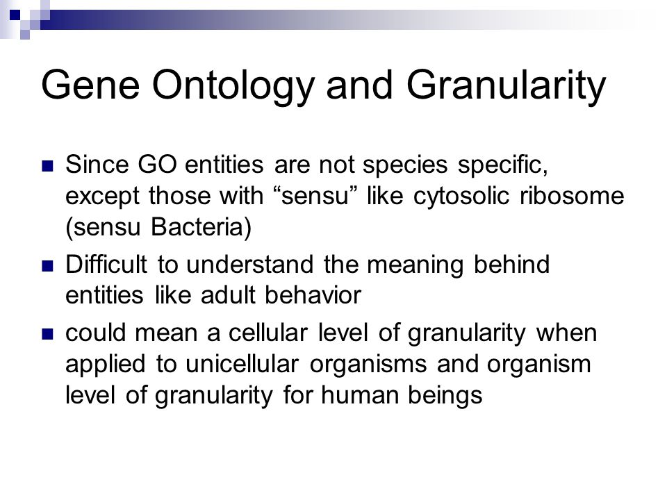 Gene Ontology and Granularity Since GO entities are not species specific, except those with sensu like cytosolic ribosome (sensu Bacteria) Difficult to understand the meaning behind entities like adult behavior could mean a cellular level of granularity when applied to unicellular organisms and organism level of granularity for human beings